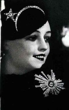 "Nov 1, 1932, Coco Chanel exhibited her 1st fine jewelry collection in her ""private rooms"" at 29 Rue du Faubourg-St.-Honoré, Paris.  One of her revolutionary ideas was an irregularly shaped star.  Not only did she feature it in her famous comet necklace, she put a star on a diadem."
