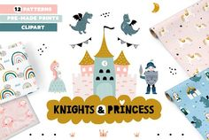 Ad: Knights & Princess graphic set by solmariart on Weclome to fairytale time where cute princces and brave knights lives ! Graphic Design Pattern, Graphic Design Templates, Graphic Patterns, Business Illustration, Creative Illustration, Notebook Design, Baby Shower Cards, Design Bundles, Drawing S