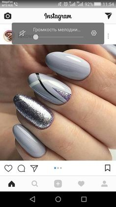 Nails Grey Gel Manicures 68 Ideas The Effective Pictures We Offer You About nail colors acrylic A qu Grey Gel Nails, White Nails, Glitter Nails, Lilac Nails With Glitter, Grey Nail Art, Silver Glitter, Manicure And Pedicure, Gel Manicures, Gel Manicure Designs