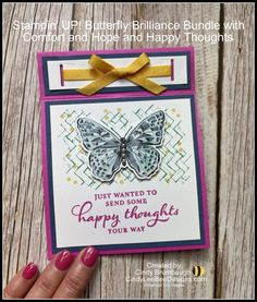 Stampin' UP! Butterfly Brilliance Bundle Inside Pop Up Fun Fold Video Tutorial   Cindy Lee Bee Designs Fancy Fold Cards, Folded Cards, Bee Design, Butterfly Cards, Happy Thoughts, Pop Up, Stampin Up, Create, Fun