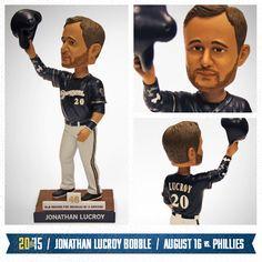 Here's a peek at the Jonathan Lucroy Bobblehead on August 16. #Brewers #JonathanLucroy