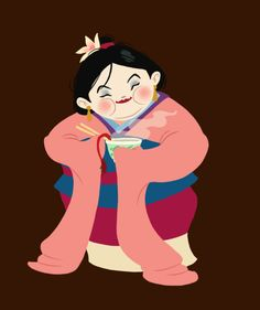 hungry princess - mulan  by ~kaffepanna  Fan Art / Cartoons & Comics / Traditional / Miscellaneous	©2012 ~kaffepanna