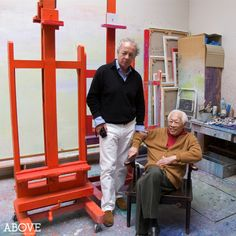 "Portrait of Gilles Bensimon in Zao Wou-Ki's Paris Studio, 2010. Photographed by Nicolas Rachline for Above Magazine. In this excerpt from Mr. Rachline's essay on Zao, the former reveals, ""To me, Zao's work has always celebrated the beauty of Nature. The marvelous portraits of him made by the great photographer Gilles Bensimon."""