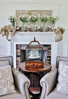 Barn wood and burlap mantel (spring decorating)