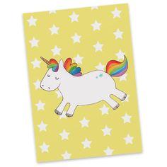 Postkarte Einhorn Happy aus Karton 300 Gramm  weiß - Das Original von Mr. & Mrs. Panda.  Diese wunderschöne Postkarte aus edlem und hochwertigem 300 Gramm Papier wurde matt glänzend bedruckt und wirkt dadurch sehr edel. Natürlich ist sie auch als Geschenkkarte oder Einladungskarte problemlos zu verwenden. Jede unserer Postkarten wird von uns per hand entworfen, gefertigt, verpackt und verschickt.    Über unser Motiv Einhorn Happy  Das süße Einhorn mit Regenbogen-Mähne ist das perfekte…