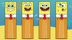 SpongeBob Times Table Bookmarks