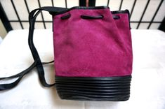 Adrienne Vittadini Handbag, fuscia suede, 1980 vintage by blingblingfling on Etsy