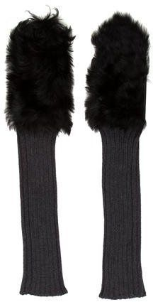 Grey wool-blend rib knit Marni gloves with black shearling lining at top and brown leather lining at palm. Marni, Mittens, Rib Knit, Wool Blend, Brown Leather, Gloves, Women, Fashion, Fingerless Mitts