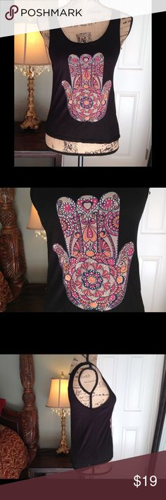 Charlotte Russe Sleeveless Hamsa Hand Top New with tag.  Cute Charlotte Russe top with a beaded hamsa hand design.  Very unique.  Has a strappy bands in the back.  XS in size, but it's roomy in design.  Smoke free home. Charlotte Russe Tops Tank Tops