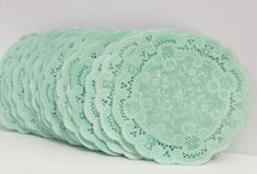Paper Doilies Mint Green Hand Dyed 4 French by MailboxHappiness