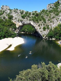 Pont d'Arc over the Ardeche, France. I canoed down the Ardeche in 1992 and swam here, potholed here and had an amazing time. A stunning place!