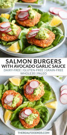 Salmon Burgers with Avocado Garlic Sauce | whole 30 dinner | paleo salmon cakes | gluten-free dinner recipe | healthy salmon cakes | easy dinner recipe | delicious salmon cake recipe || The Real Food Dietitians #whole30 #whole30dinner #glutenfreedinner