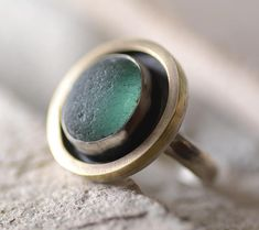 Mint Color Sea Glass Ring, Size 8, Handmade Ring, English Sea Glass, Sterling Silver With Brass Ring Accent
