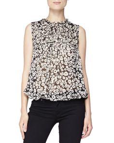 B2QDM Burberry Brit Floral Mixed-Fabric Blouse, Black/White