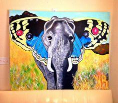 elephant butterfly art