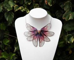Magical Autumn Sunset - Gossamer Fairy/Faerie Butterfly Cicada Wing Statement Necklace/Collar