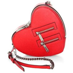 Rebecca Minkoff Jamie Heart Leather Crossbody Bag ($195) ❤ liked on Polyvore featuring bags, handbags, shoulder bags, red leather shoulder bag, rebecca minkoff crossbody, purses crossbody, hand bags and leather man bags