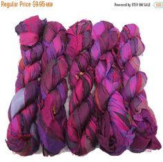 SALE Huge Premium  Sari Silk Ribbon Irredescent Dark by SilkDivine