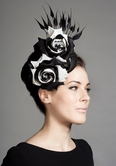 Black and white flower pillbox with claw feathers  Rachel Trevor-Morgan