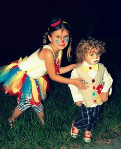 Brother and sister diy clown costume