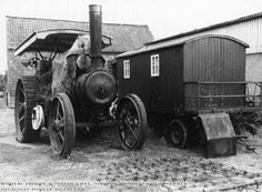 Picture the Past Greaves Lane Description: Traction Engine and Drivers Caravan, Hartswell, Oxton, 1981 Image Date: June 1981 Photographer: Baker, Reg Ploughing machinery at ex Hartswell Farm Steam Engine, Historical Photos, Caravan, Antique Cars, Bears, Engineering, June, Image, Historical Pictures