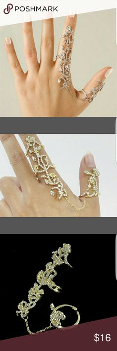 HPGold & Rhinestone leaf slave ring Gold plated adjustable rhinestone accented leaf slave ring bn Jewelry Rings