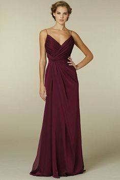 OOH DESIGN  Pleated Chiffon Floor Length Sheath Bridesmaid Dress