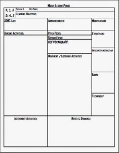 Mr. M's Music Blog: Lesson Plan Template for general music ...