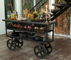 Kitchen islands cart urban industrial theme... I love for an entry way. Unexpected and fun!