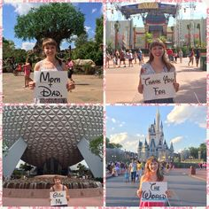 """""""Mom & Dad, Thank You for Giving Me the World"""" WDW version of a project I've seen people do when traveling around the world. This was perfect for Mother's and Father's Day gifts while I was on my Disney College Program!"""