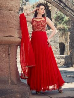 Red and Cream Net Anarkali Suit with Stone Work