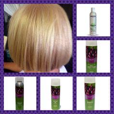 Prewash hair w/ UMF Shampoo& Conditioner . On Level 5 w/ 95% Gray Hair. 1 1/2oz 9.0 (Pale Blonde) + 1/2 oz 8.3 (Light Golden Blonde)+ 2 oz 30v. 45 min.Shampoo & Rinse TONE w/ 1 oz ColorGLOSS+ 1 oz 9.23 (Beige Blonde) INSTANTANE  15 min, Emulsify w daily conditioner & rinse..DO NOT SHAMPOO Gloss out. www. Mastey.com