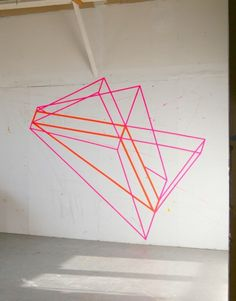 Giant neon washi tape wall design. We are so having this in our office!!!!