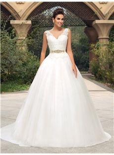 Elegant Lace V-Neck Zipper-Up A-Line Court Train Wedding Dress
