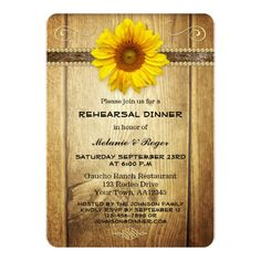 Sunflower Country Rehearsal Dinner Invitation
