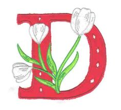 Flower Applique Alphabet D by Glenn Harris