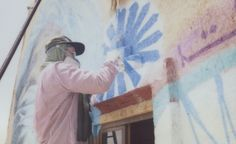 Andrew Hem in the Sahara Desert with the Igloo Hong art project in Morocco