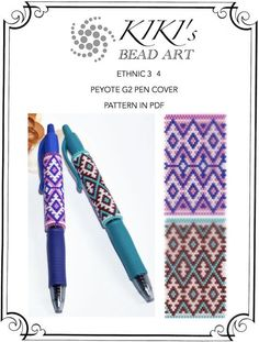 Pattern, peyote pen cover patterns- ethnic inspired peyote pattern set of 2 for pen wrap - for G2 pen by Pilot- in PDF instant download