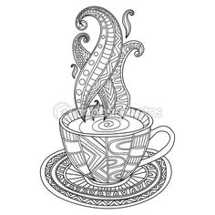 Vector coffee or tea cup with abstract ornaments. Hand drawn illustration for coloring book for adult in zentangle, doodle style. Coloring pages. Coffee Cup Drawing, Coffee Cup Art, Free Printable Coloring Pages, Coloring Book Pages, Printable Worksheets, Printables, Silhouette Designer Edition, Printed Coffee Cups, Buch Design