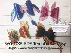 Digital SVG PDF DXF Forest Friends Hair Bow Templates, winnie the pooh, eeyore svg, tigger svg, pooh Glitter Canvas, Glitter Fabric, Pink Fabric, Glitter Hair, Christopher Robin, Winnie The Pooh, Eeyore, Disney Hair Bows, Bow Template