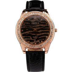 AMPM24 Zebra Dial Crystal Rose Gold Case Lady Women Black Leather Quartz Watch IBELI. $10.79