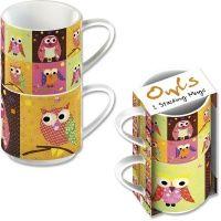 patchwork owl -set van 2 porceleinen stapelbare mokken