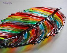 Dish Feather Fused Glass Art Fused Glass Glass Art от Kalashlinsky