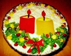 The Candle salad with chicken and mushrooms Christmas Salad Recipes, 32 Birthday, Christmas Candle, Merry Christmas, Xmas Food, Food Humor, Funny Food, Serving Dishes, Ideas