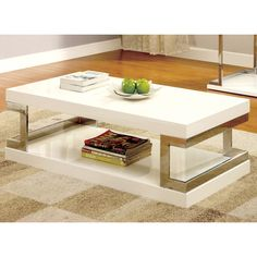 Wash away gloom with the help of this bright and glossy white-finished coffee table. Paired with chrome leg accents for a supportive and modern design, the Lolie Coffee Table is sure to stand out in any setting.