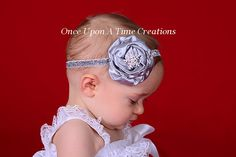 Silver Snowflake Winter Satin Flower Glitter Headband Hair Bow - Little Girls Sparkle Dressy Christmas Headband Holiday Photo Prop Hair Bow