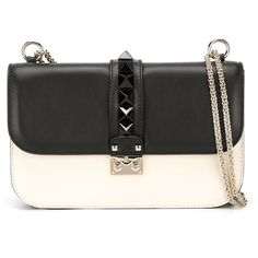 Valentino Garavani Glam Lock Shoulder Bag (6.995 RON) ❤ liked on Polyvore featuring bags, handbags, shoulder bags, black, black leather purse, chain strap purse, valentino handbags, leather shoulder bag and black purse