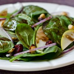 Baby Spinach Salad with Pears, Red Onions, Cranberries and Toasted Hazelnuts from Serious Eats, found @Edamam!