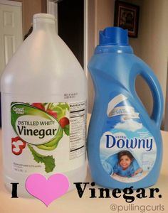 Use Vinegar in place of downy... {true love}.  Vinegar has so many great uses, it makes it really handy! #pullingcurls