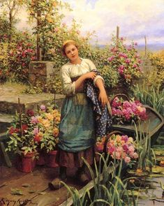 "Daniel Ridgway Knight (american painter, 1839-1924) - ""The flower boat"""